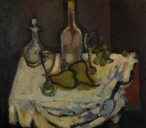 Margaret Morris - Still Life with a Bottle and Pears
