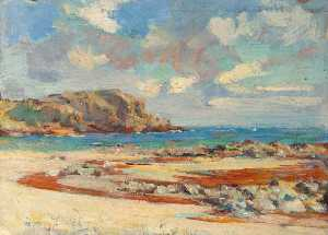 Henry Young Alison - Beach Scene with Sandy Bay