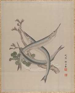 Order Paintings Reproductions | Three Fishes and a Branch, 1890 by Seki Shūkō (1858-1915) | WahooArt.com