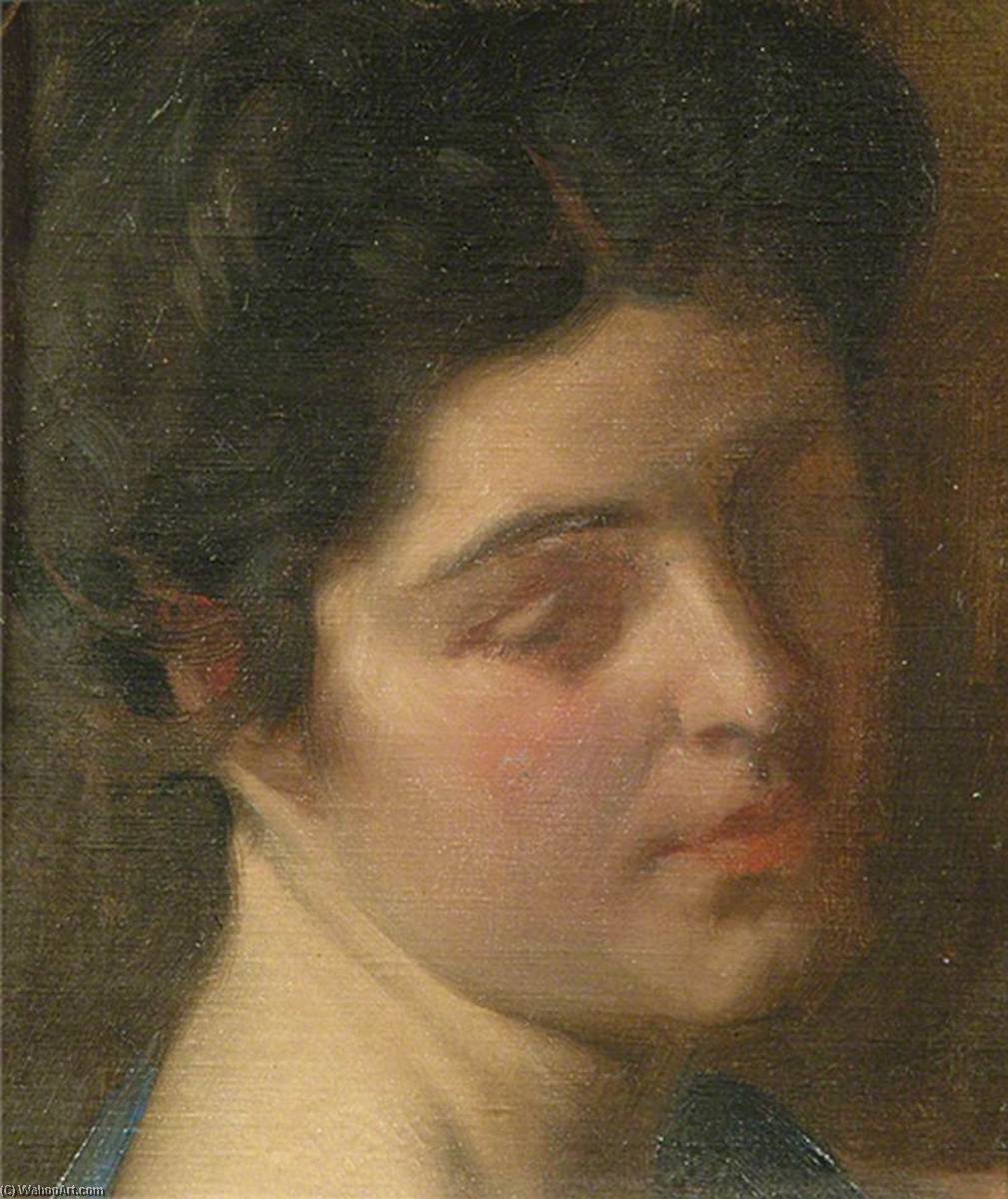 Head of an Unknown Lady by Louis Ginnett | Reproductions Louis Ginnett | WahooArt.com