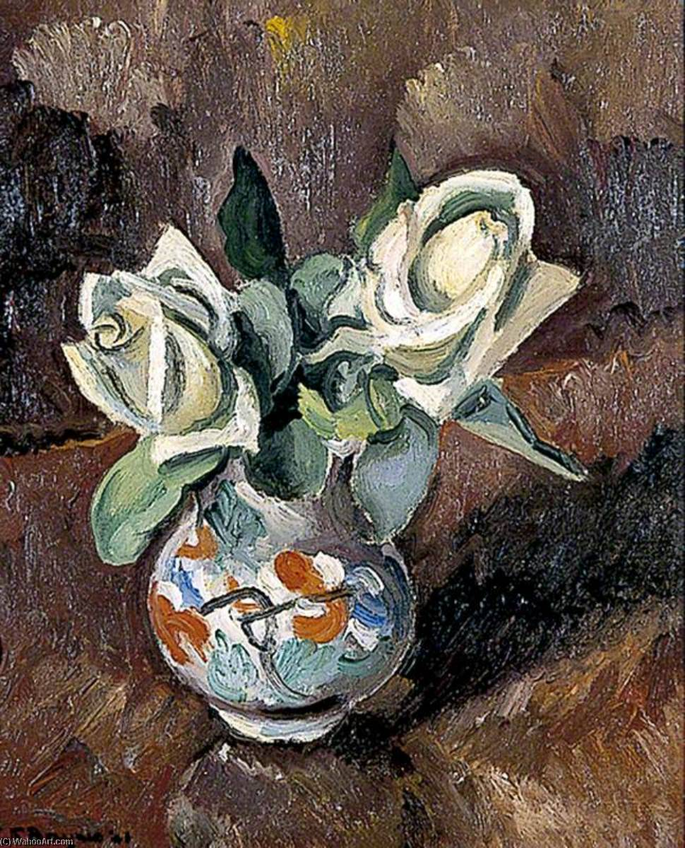 Still Life of White Roses, 1921 by Keith Baynes | Oil Painting | WahooArt.com