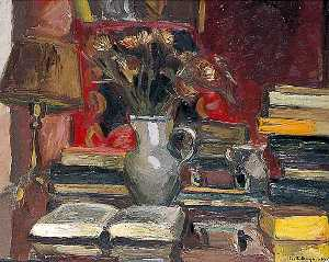 Keith Baynes - Still Life with Books, a Lamp and Jug of Flowers