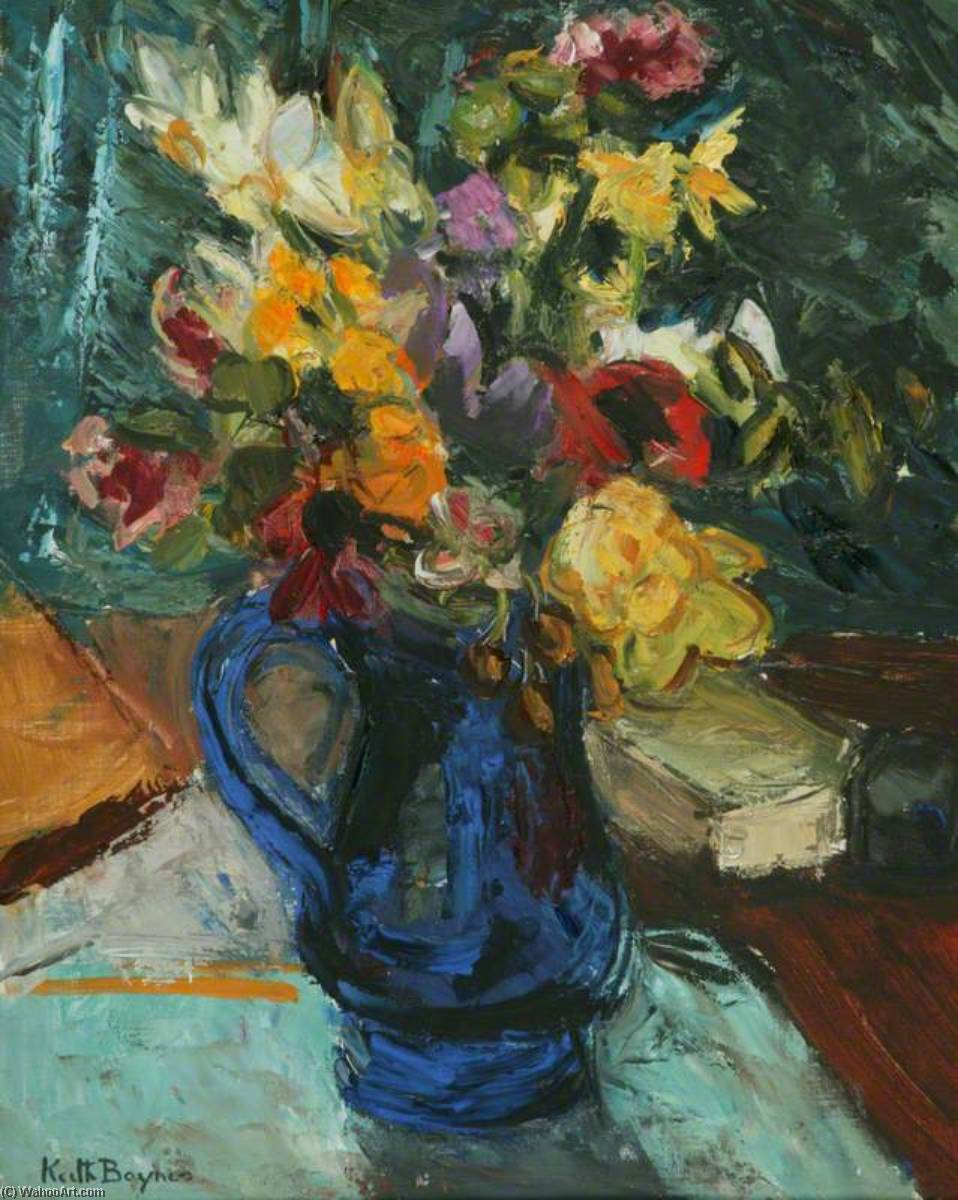 Flowers in a Blue Glass Jug by Keith Baynes | Museum Quality Copies Keith Baynes | WahooArt.com