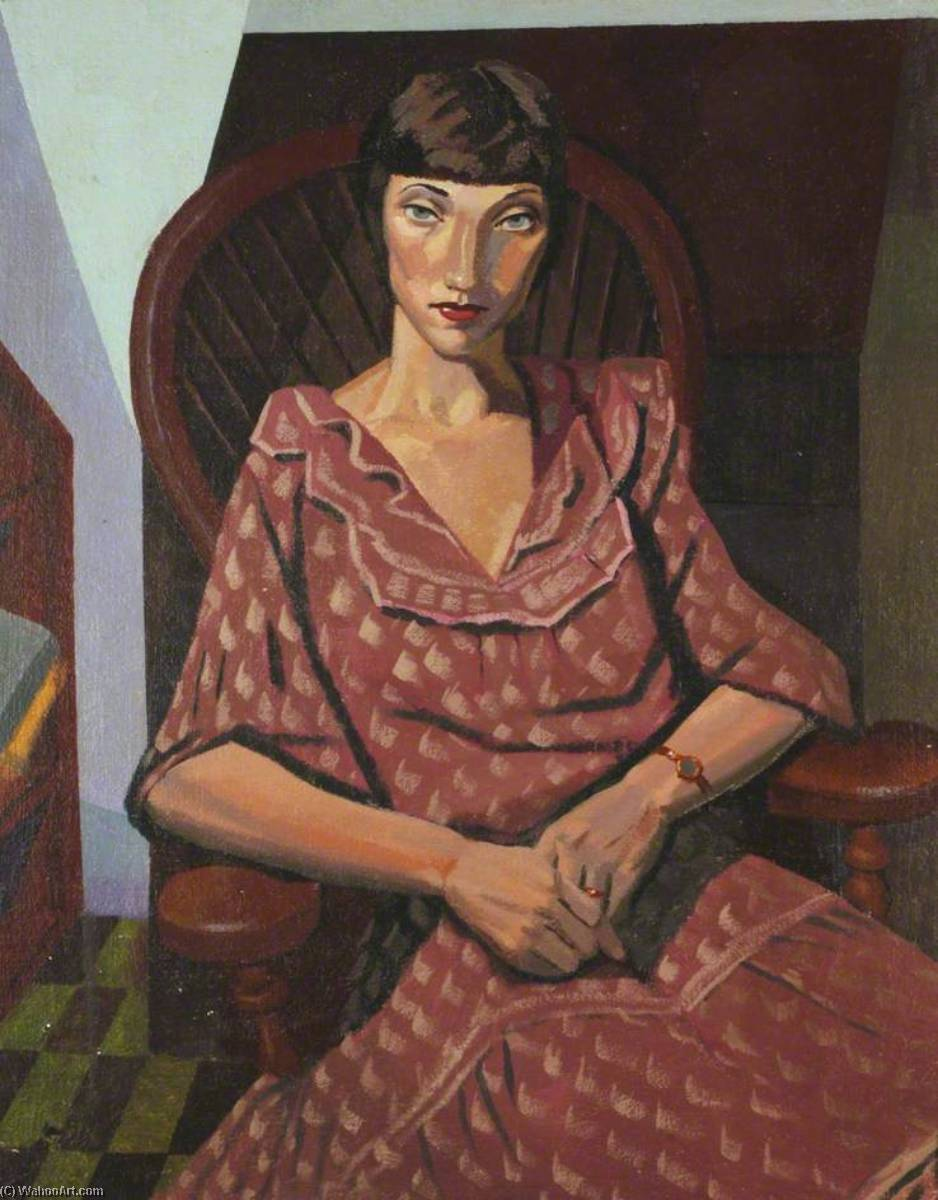 Lady in a Maroon Dress, Oil by Ronald Power