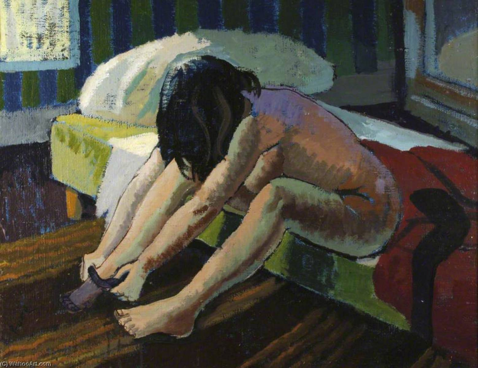 Nude Dressing Morning, Oil by Ronald Power