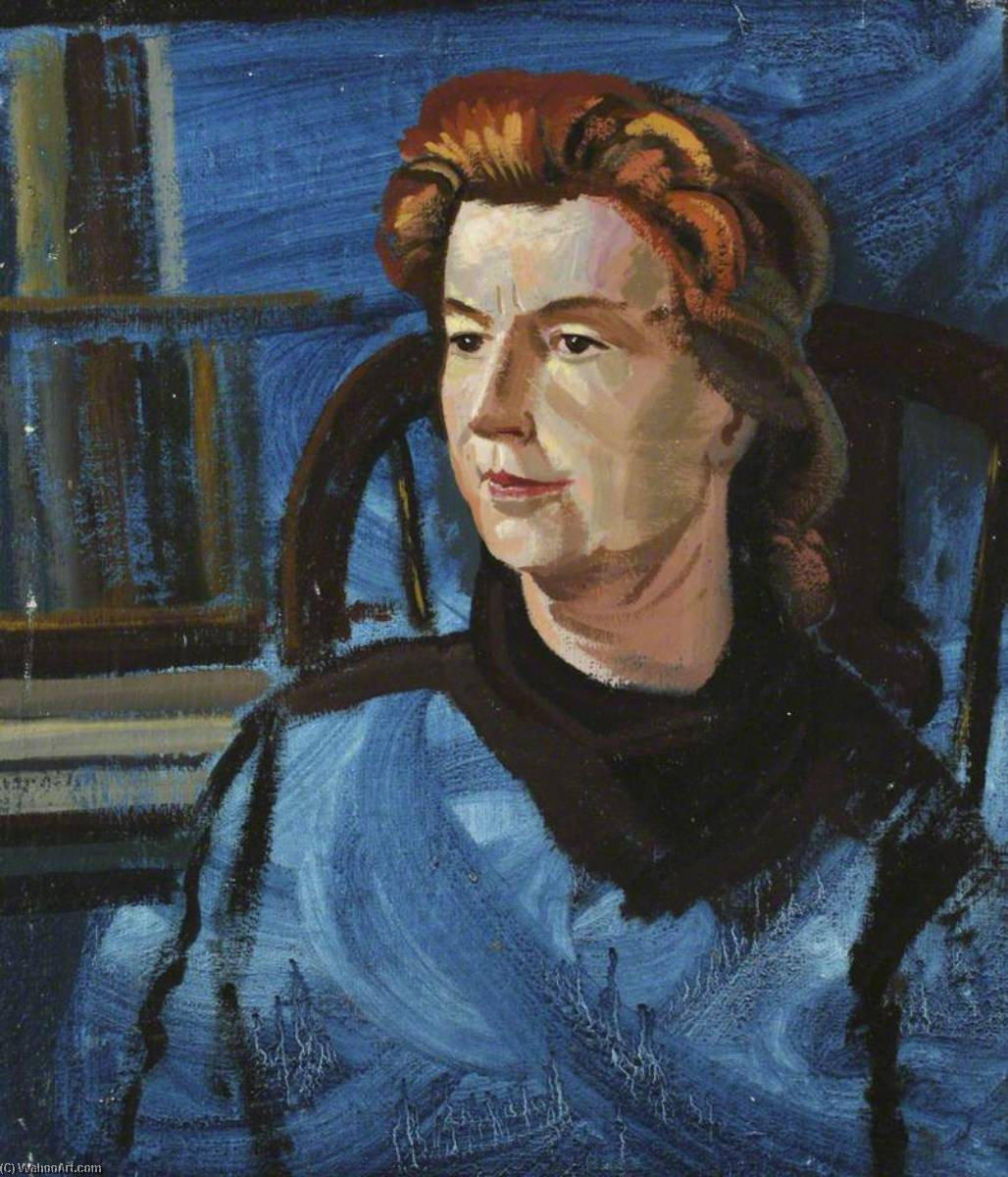 Order Oil Painting : Portrait of a Lady in Blue by Ronald Power | WahooArt.com
