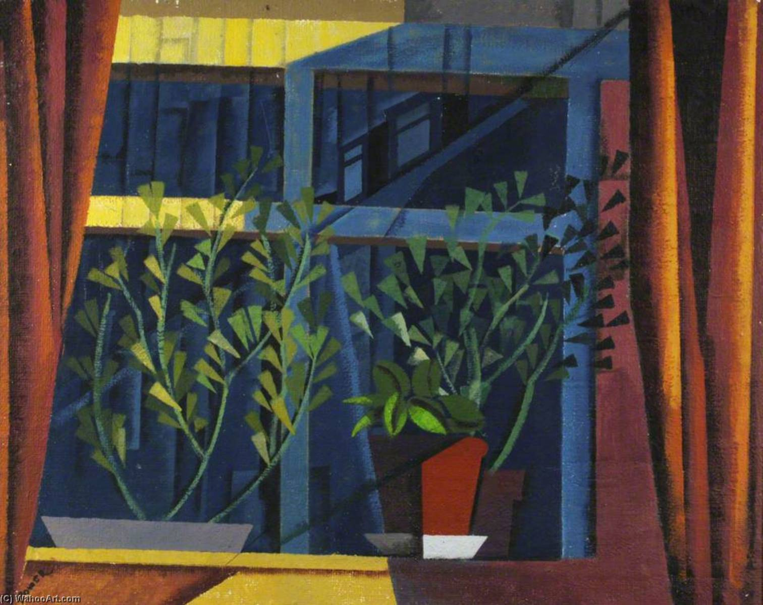 Plants on a Windowsill, Oil by Ronald Power
