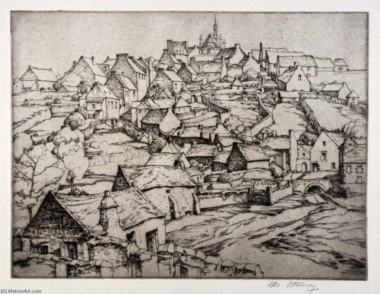 Brittany Village, 1930 by Abbo Ostrowsky | Paintings Reproductions Abbo Ostrowsky | WahooArt.com