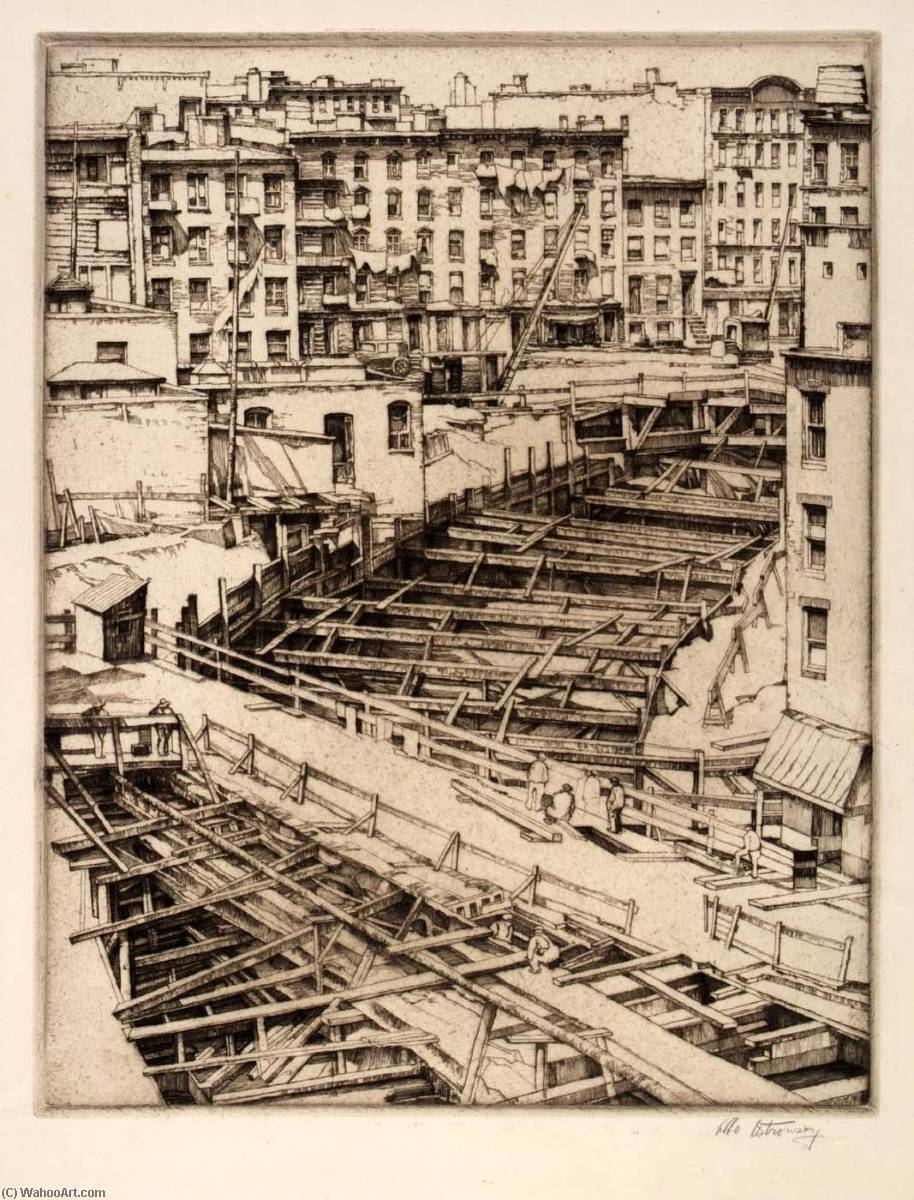 Bracings, Subway Excavation, 1937 by Abbo Ostrowsky | Art Reproduction | WahooArt.com