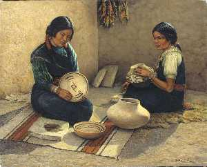 Carl Moon - Hopi Pottery Painters