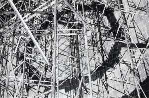 Burk Uzzle - (Untitled tryptich, left panel metal scaffolding)