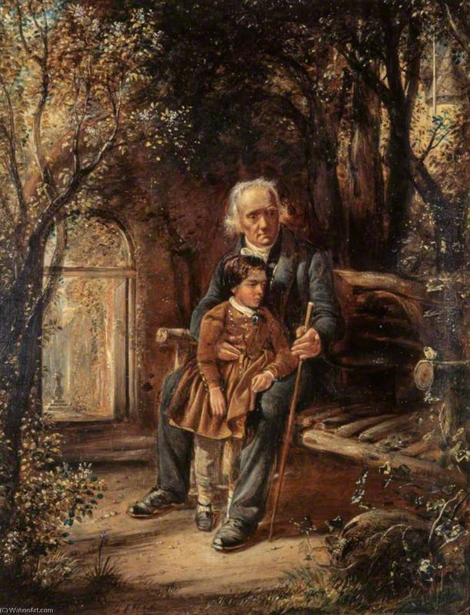 Reverend Thomas Chalmers (1780–1847), Preacher and Social Reformer, with his Grandson Thomas Chalmers Hanna (after a calotype by Robert Adamson and David Octavius Hill), 1853 by David Octavius Hill | Art Reproduction | WahooArt.com