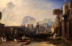 David Octavius Hill - Old Edinburgh, Showing the Castle from Greyfriars Churchyard