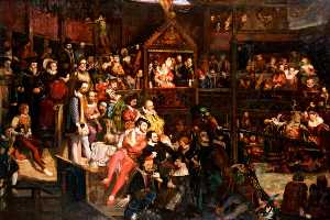 David Scott - Queen Elizabeth (1533–1603), Viewing the Performance of 'The Merry Wives of Windsor' at the Globe Theatre