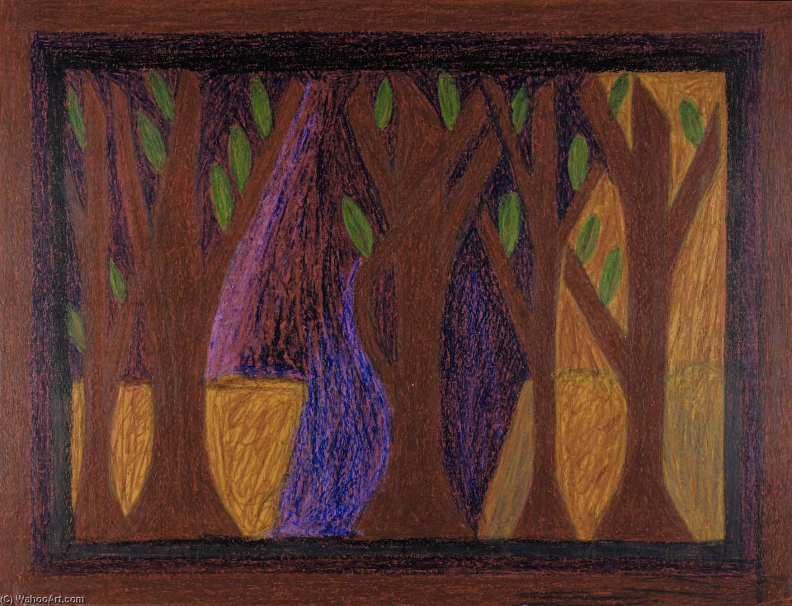 The Forest, 1964 by Eddie Arning | Art Reproductions Eddie Arning | WahooArt.com