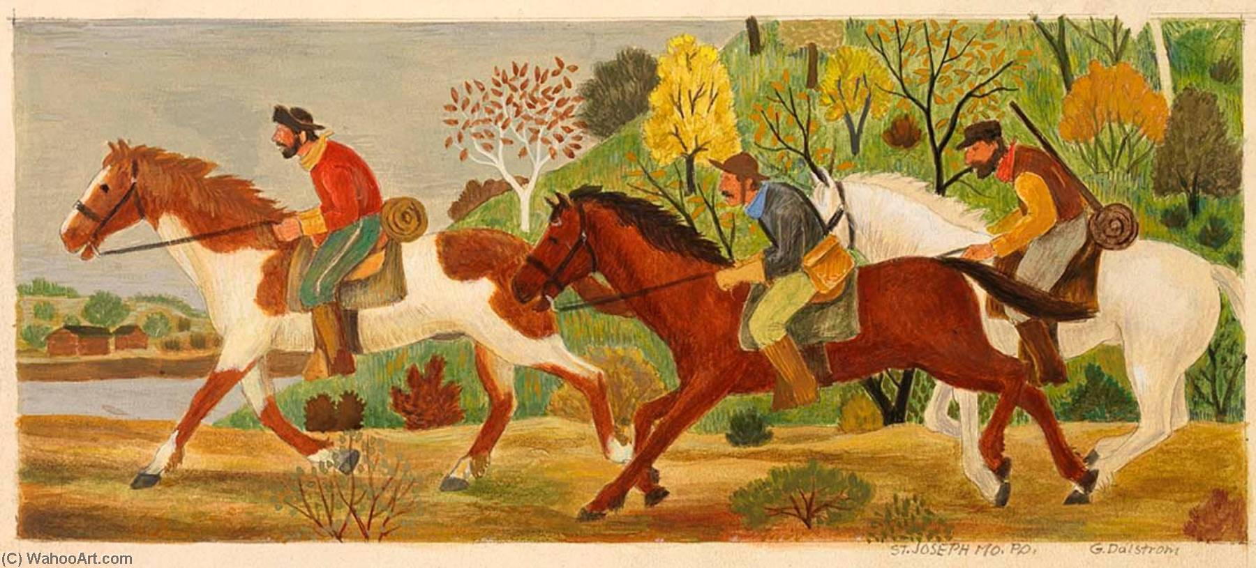 Pony Express (mural study, St. Joseph, Missouri Post Office and Courthouse), 1941 by Gustaf Oscar Dalström | Museum Quality Reproductions | WahooArt.com