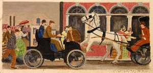 Gustaf Oscar Dalström - Horseless Carriage (mural study, St. Joseph, Missouri Post Office and Courthouse)