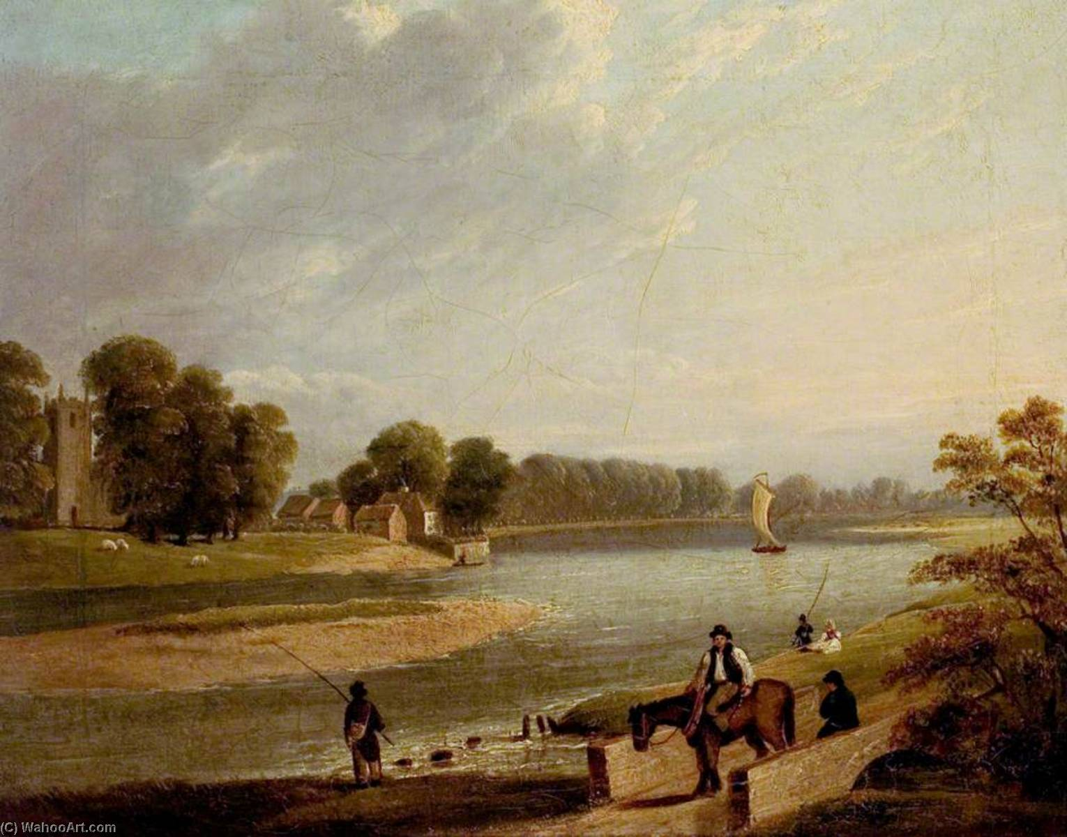 Order Oil Painting : The Trent at Wilford, 1840 by Thomas Barber | WahooArt.com