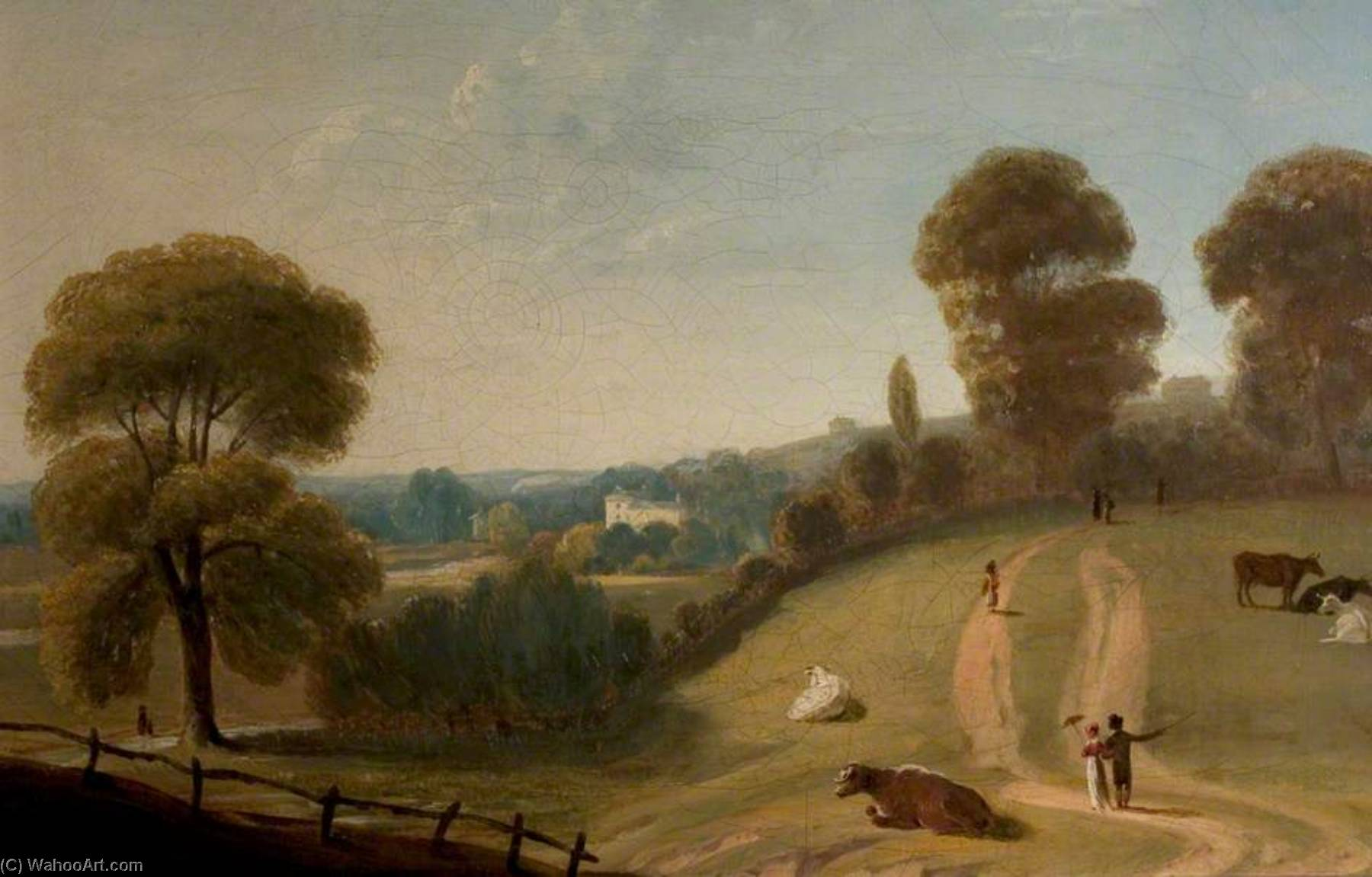 View across Nottingham Park with Lenton Priory in the Distance by Thomas Barber | Famous Paintings Reproductions | WahooArt.com