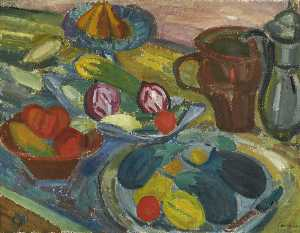 Martin Bloch - Still Life with Jugs and Aubergines