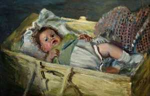 Archibald A Mcglashan - Child in a Cot