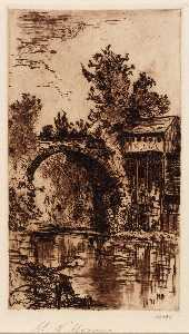 Mary Nimmo Moran - Bridge over the Buskill, Easton, Pa