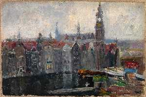 Frank Wilbert Stokes - View of the Old Kirk from the Window of Victoria Hotel, Amsterdam