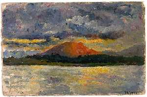 Frank Wilbert Stokes - Sunset Back of Mount Susanne off Ushuaia, Beagle Channel
