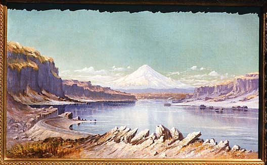 Mt. Hood from John Day's Station, (painting), Oil On Canvas by Grafton Tyler Brown (1841-1918)