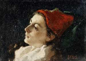 Sarah Paxton Bell Dodson - Head of a Woman in A Red Cap