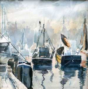 Ruth Van Sickle Ford - (Boats in Harbor with Chicago Skyline), (painting)