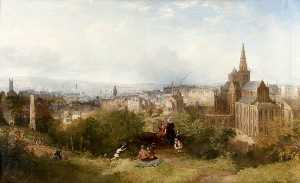 John Adam Houston - View of Glasgow and the Cathedral