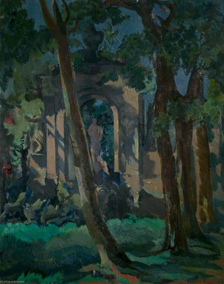 Borghese Gardens, Rome, 1945 by Kenneth Green | Famous Paintings Reproductions | WahooArt.com