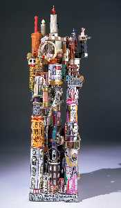 Howard Finster - THE MODEL OF SUPER POWER PLAINT (FOLK ART MADE FROM OLD T.V. PARTS)