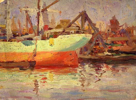 (Harbor Scene), (painting), 1906 by Phineas E Paist (1875-1937) | Art Reproductions Phineas E Paist | WahooArt.com