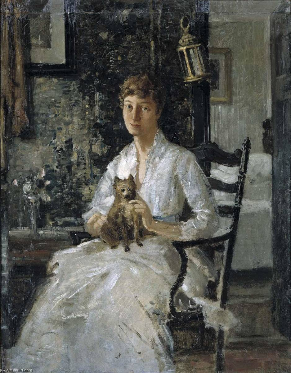 Portrait of a Lady with a Dog (Anna Baker Weir), 1890 by Julian Alden Weir (1852-1919, United States) | Famous Paintings Reproductions | WahooArt.com