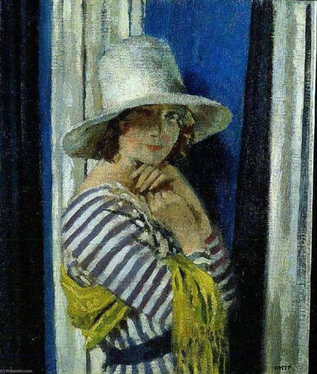 Mrs Hone in a Striped Dress by William Newenham Montague Orpen (1878-1931, Ireland) | Art Reproduction | WahooArt.com