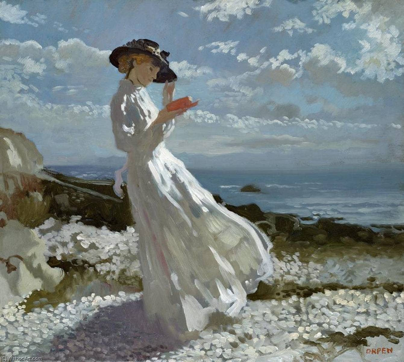 Grace reading at Howth Bay, 1900 by William Newenham Montague Orpen (1878-1931, Ireland)