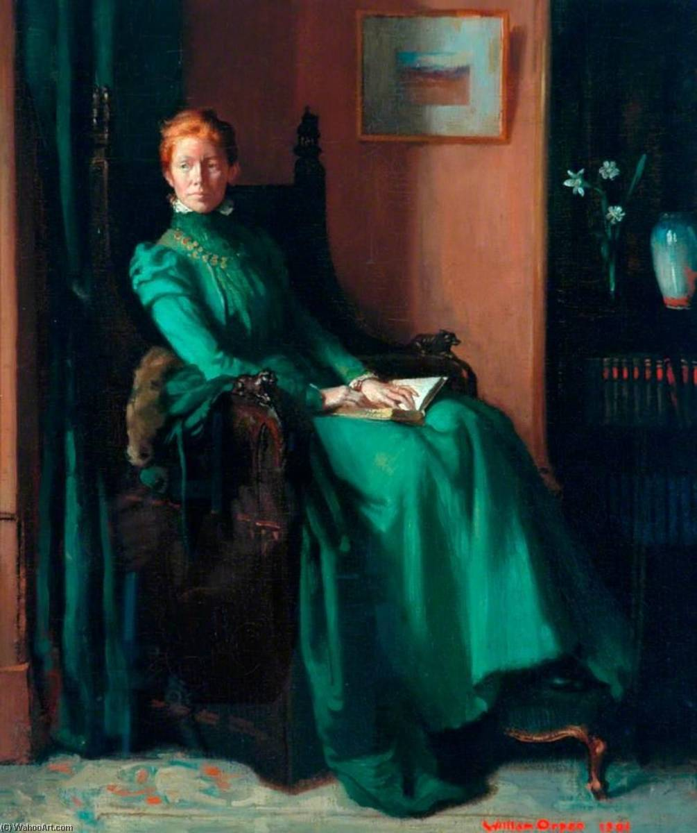Mrs Charles Hughes, Oil On Canvas by William Newenham Montague Orpen (1878-1931, Ireland)