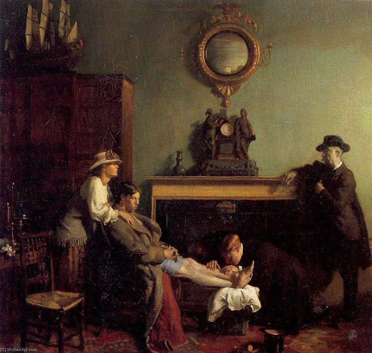 A Mere Fracture, Oil On Canvas by William Newenham Montague Orpen (1878-1931, Ireland)