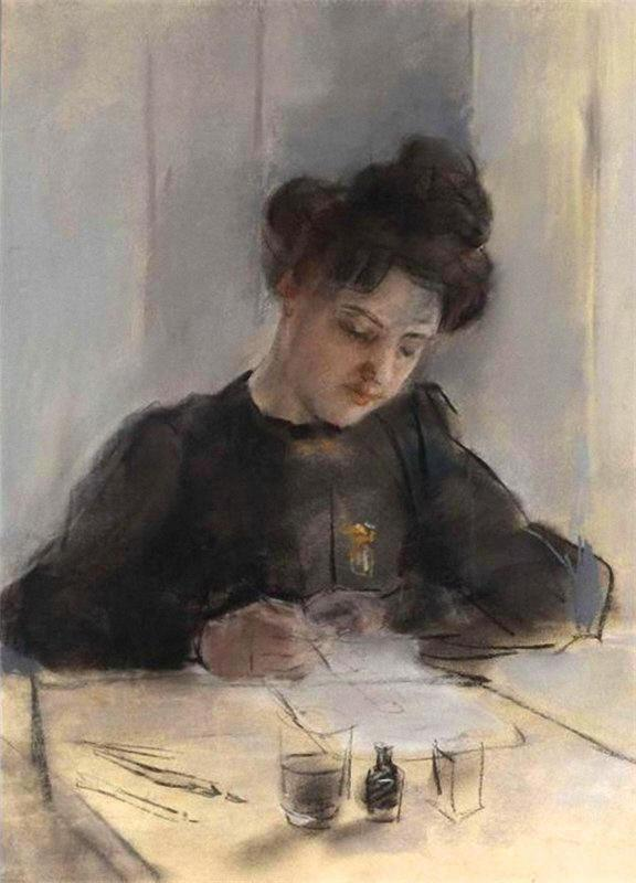 A Girl Sketching by William Newenham Montague Orpen (1878-1931, Ireland) | Painting Copy | WahooArt.com