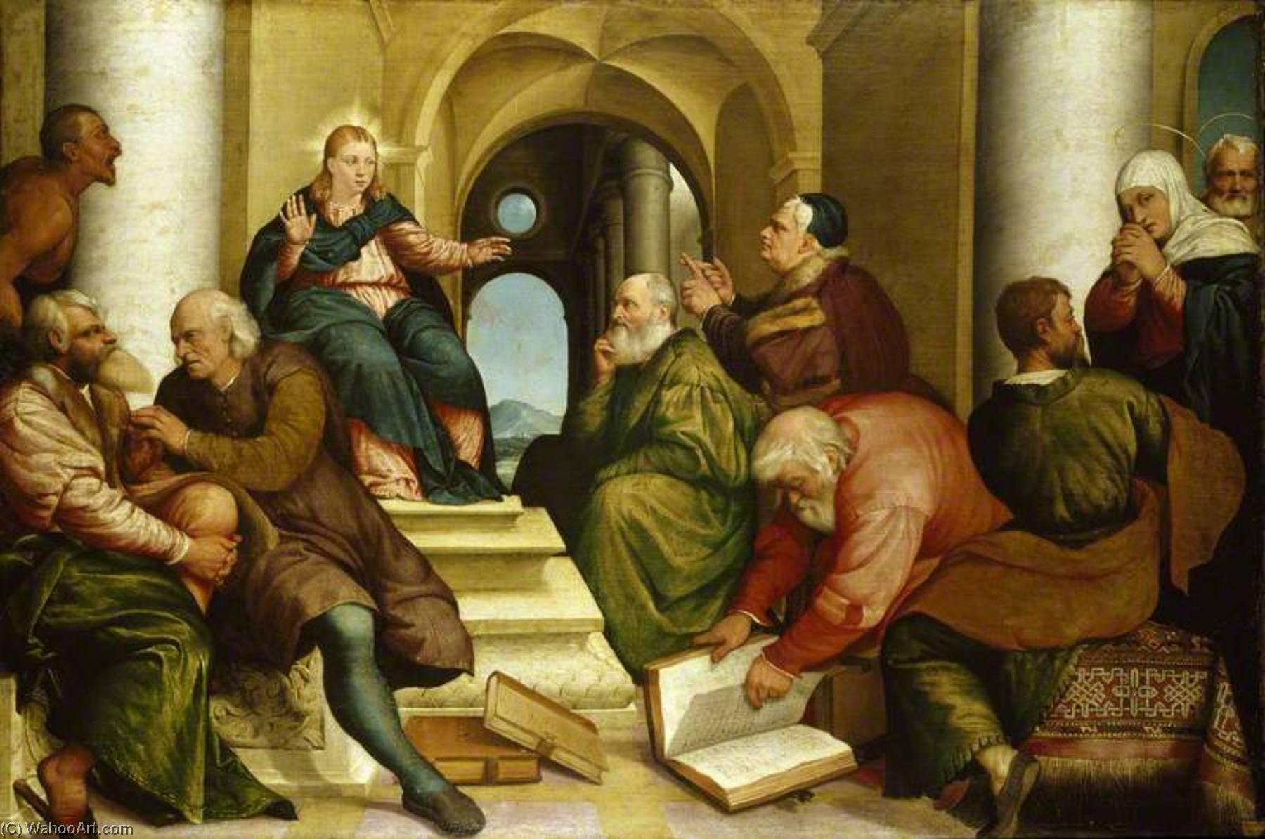 Christ among the Doctors, 1539 by Jacopo Bassano (Jacopo Da Ponte) (1510-1592, Italy) | Oil Painting | WahooArt.com