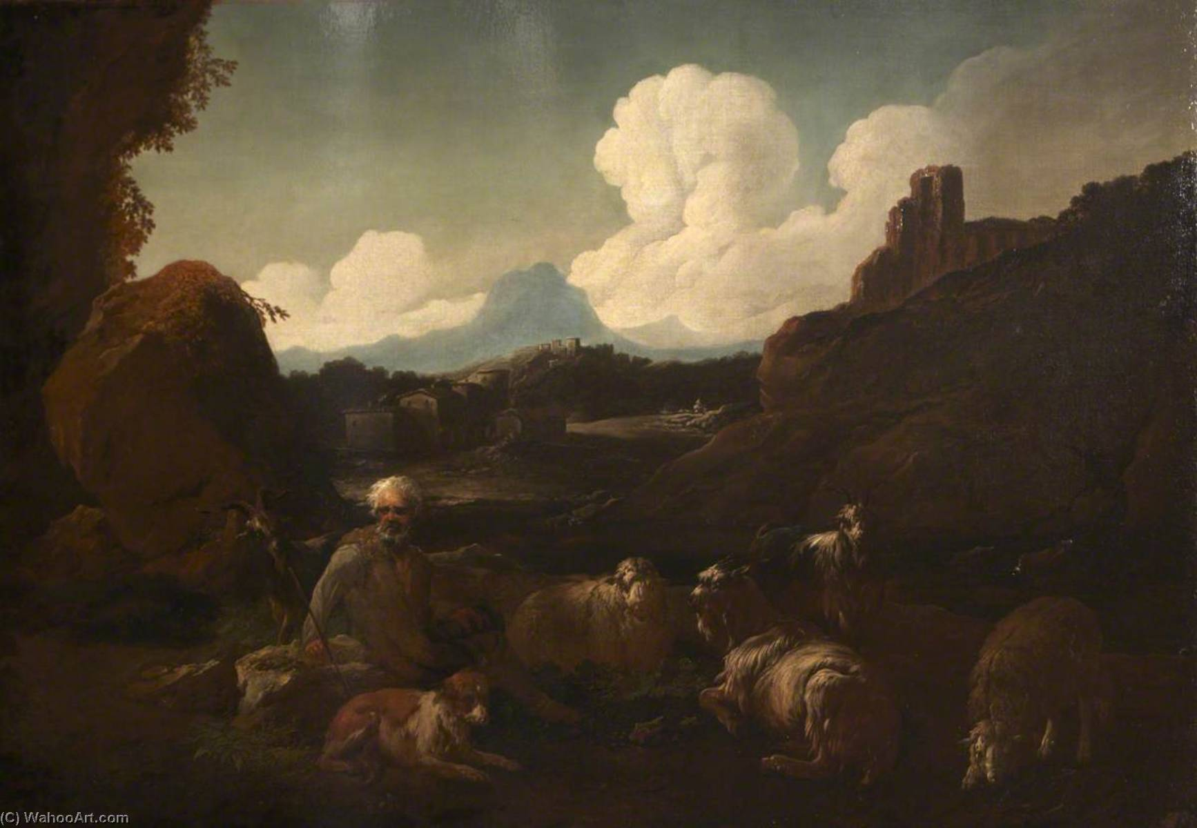 Peasant Attending Sheep by Jacopo Bassano The Elder (1510-1592) | Reproductions Jacopo Bassano The Elder | WahooArt.com