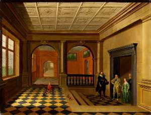 Hendrick Van Steenwijck The Younger - An Interior with King Charles I, Queen Henrietta Maria, Jeffery Hudson, William Herbert, 3rd Earl of Pembroke and His Brother Philip Herbert (later 4th Earl of Pembroke)