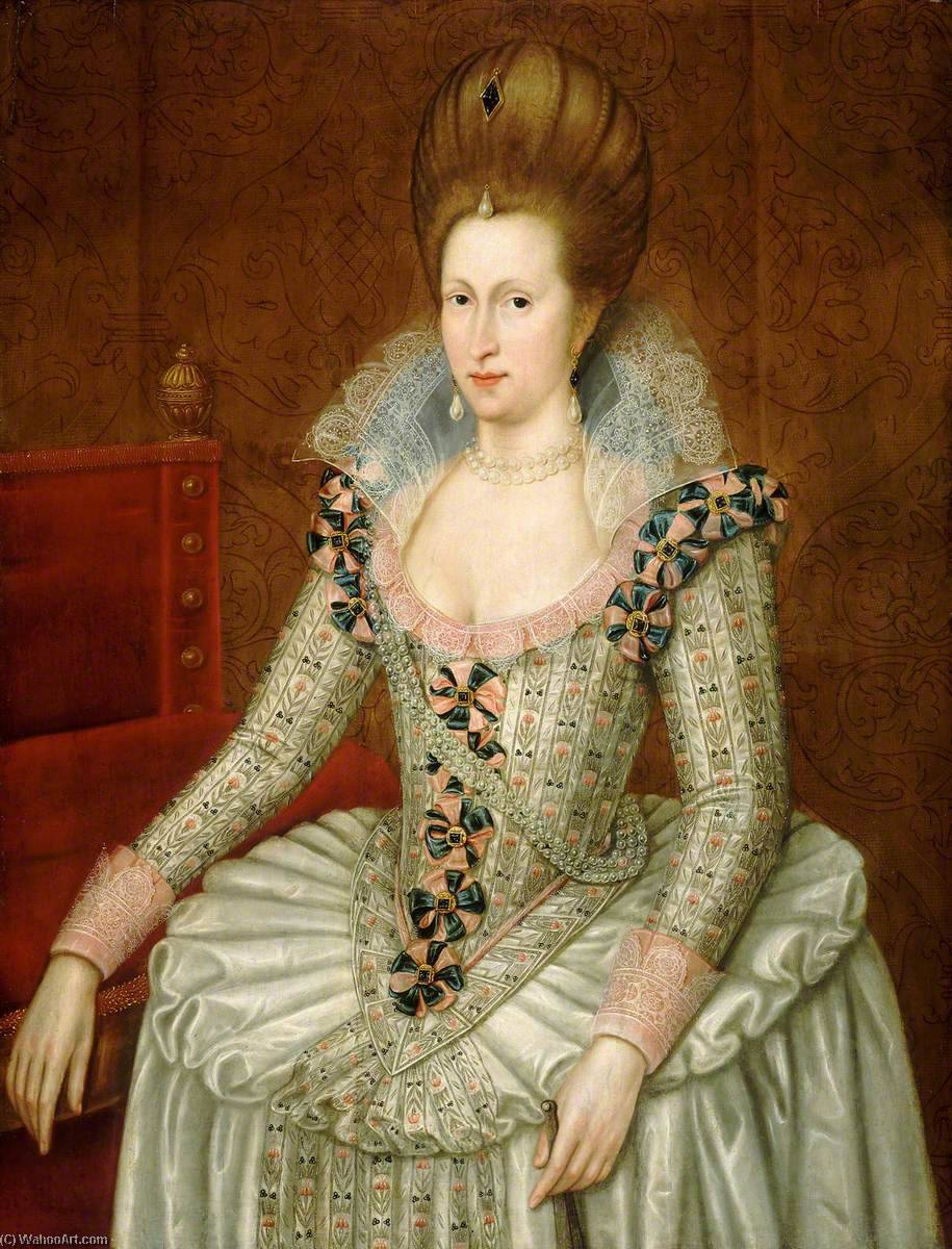 Anne of Denmark (1574–1619), 1605 by John De Critz The Elder | Art Reproductions John De Critz The Elder | WahooArt.com