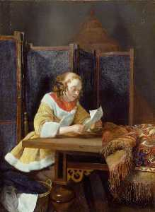 Gerard Terborch Ii - A Lady Reading a Letter
