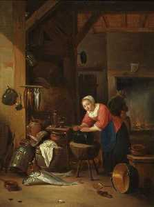 Hendrik Martensz Sorgh - Interior with Women, Fish and Kettles