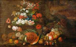 Jakob Bogdany - Still Life (Flowers and Fruit)
