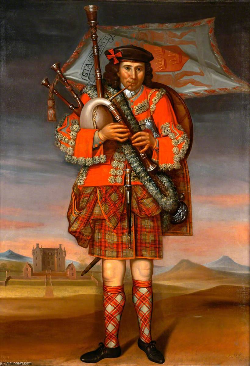 Laird of Grant's Piper, William Cumming, Oil On Canvas by Richard Waitt