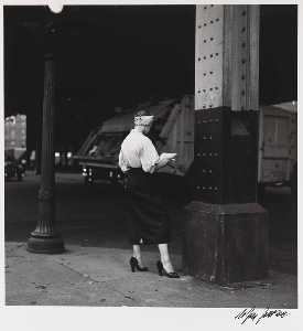 Nathan Jay Jaffee - Woman Reading Paper Under the El